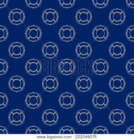 Seamless Travel Pattern with Lifebuoy, Maritime Tourism Concept , Line Style Design,  Illustration