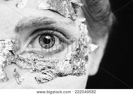Eye closeup. Black and white art monochrome photography. Black and white creative photography. Black and white conceptual image. Beautiful black and white background. Black and white portrait.