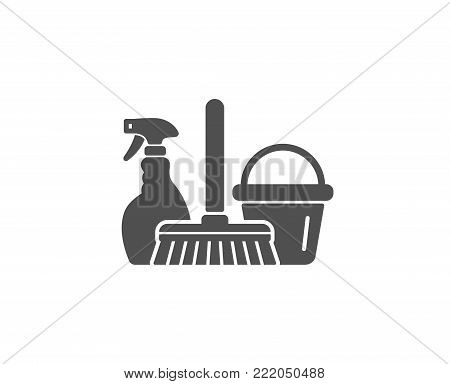 Cleaning service simple icon. Spray, bucket and mop symbol. Housekeeping equipment sign. Quality design elements. Classic style. Vector