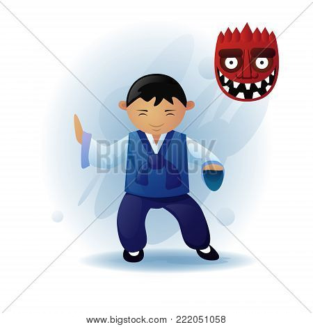 Man In Traditional Asian Clothes Kimono Dancing Ethnic Tribal Mask Flat Vector Illustration