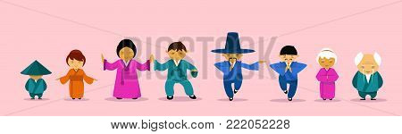 Asian Family Wearing Traditional Clothes Cartoon Childern And Parents East Tradition And Culture Concept Flat Vector Illustration