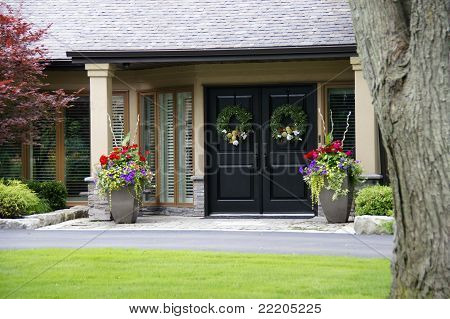Beautiful Home Entrance With Flowers