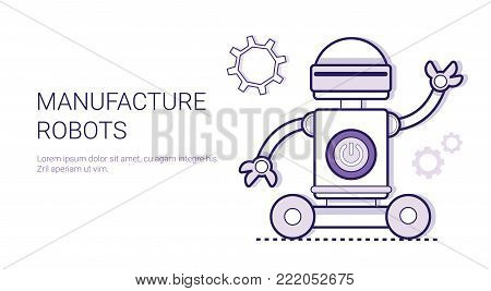 Manufacture Robots Industrial Automation Production Concept Template Web Banner With Copy Space Vector Illustration