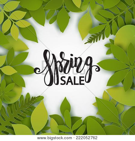 Vector paper cut leaves. Summer tropical banner with green palm leaves. Seasonal poster in trendy paper cut style. Design template for print or web.
