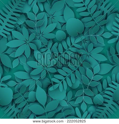 Tropical jungle trendy seamless pattern with exotic palm leaves, leaf branches. Vector 3d spring or summer floral endless background. Seasonal poster in trendy paper cut style.