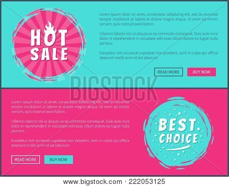 Best choice hot sale ad cards vector illustration with promotion messages multicolored push-buttons and stickers isolated on blue and pink backgrounds