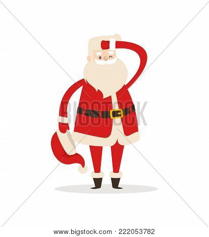 Cute Santa Claus light icon isolated on white background. Vector illustration with fairy tale Christmas character with red fluffy hat with bubo