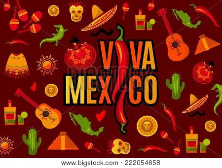 Viva Mexico lettering and icon set. Sun, Moai pyramid, tequila, cactus, guitar, peyote, sombrero, moustache, poncho, dancing girl, coin, bean, chili, crocodile, maracas, map. Vector illustration