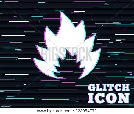 Glitch effect. Fire flame sign icon. Heat symbol. Stop fire. Escape from fire. Background with colored lines. Vector