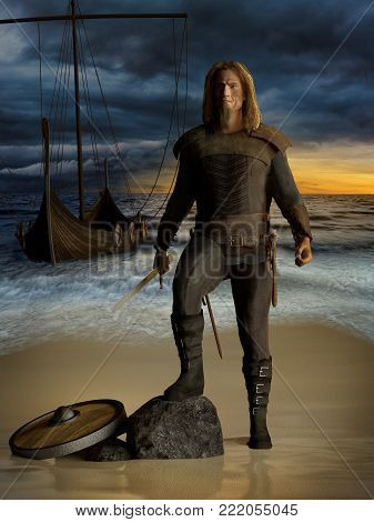 Medieval scandinavian warrior viking with sword standing near Drakkar on the seashore under the dramatic stormy clouds. 3D render illustration.