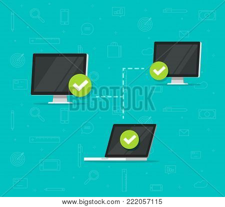 Network connection between computers vector illustration, flat cartoon desktop computer pc and laptop connected to network, wireless access, communication system