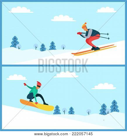 Skier and snowboarder, set of posters with men wearing warm clothes doing winter activities, outdoors sport, trees and snow vector illustration