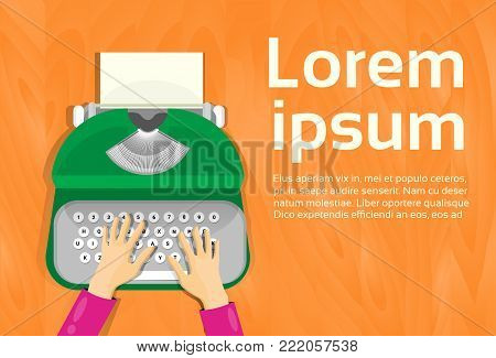 Hands Typing On Vintage Typewriter Top Angle View Flat Vector Illustration