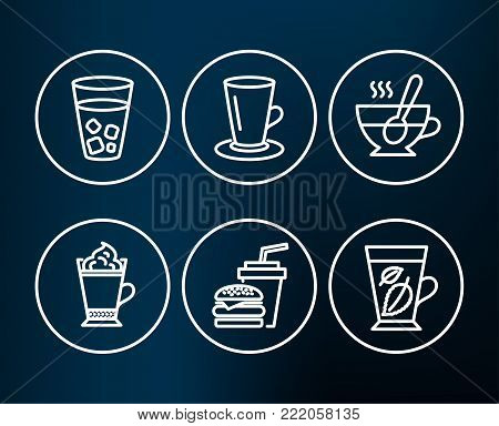 Set of Teacup, Tea cup and Latte coffee icons. Ice tea, Hamburger and Mint leaves signs. Coffee with spoon, Hot drink with whipped cream, Soda beverage. Mentha leaf.  Editable stroke. Vector