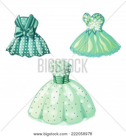 Three beautiful female dresses. Cartoon vector illustration close-up.