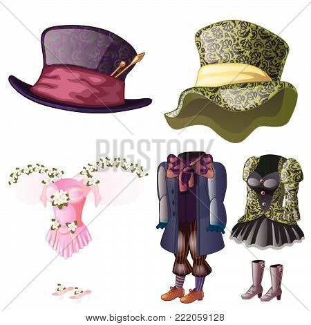 Vintage costume for women and men. Vector.