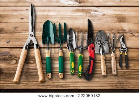 Garden tools gardening garden tools yellow group isolated