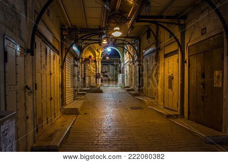 Empty Bazaar Alley In Nazareth At Night