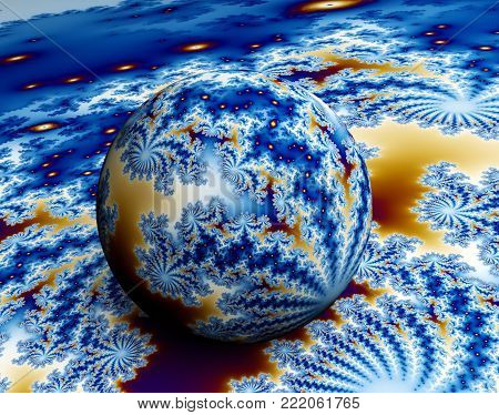 Blue and Yellow 3D Fractal - Rendering Ball