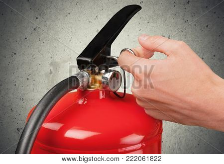 Fire using extinguisher fire extinguisher red object danger
