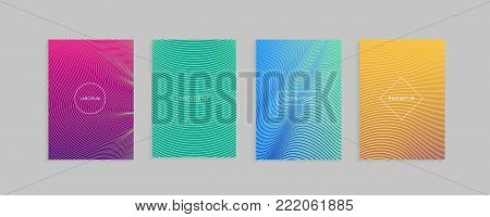 Abstract minimal covers vector design template. Set of linear geometric patterns with halftone gradients.