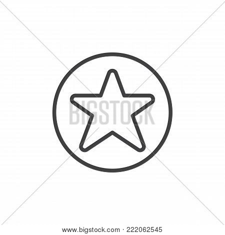 Favorites button line icon, outline vector sign, linear style pictogram isolated on white. Star in circle symbol, logo illustration. Editable stroke