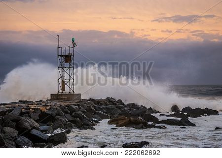 Waves crash on shore during Hurricane Earl in Belmar New Jersey in 2010.