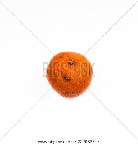 Old ugly mandarin fruit isolated on white background