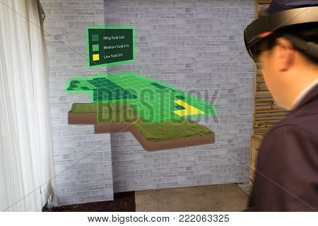 iot smart industry 4.0 agriculture concept,agronomist,farmer(blurred) using smart glasses (augmented mixed virtual reality,artificial intelligence technology) to track, keep, collect about farm in 3d