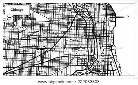 Chicago Illinois USA Map in Black and White Color. Outline Map.