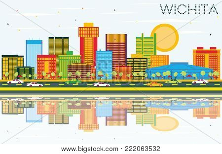 Wichita Kansas USA City Skyline with Color Buildings, Blue Sky and Reflections. Business Travel and Tourism Concept with Modern Architecture. Wichita Cityscape with Landmarks.