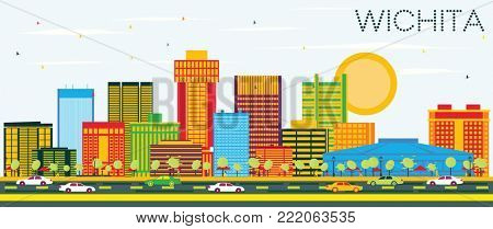 Wichita Kansas USA City Skyline with Color Buildings and Blue Sky. Business Travel and Tourism Concept with Modern Architecture. Wichita Cityscape with Landmarks.