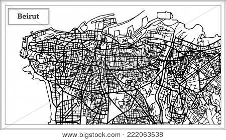 Beirut Lebanon City Map in Black and White Color. Outline Map.