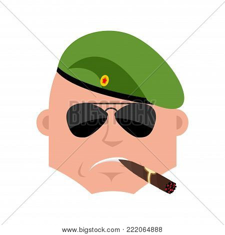 Russian soldier Cool serious avatar of emotions. Airborne troops smoking cigar emoji. Paratrooper Military in Russia strict. Illustration for 23 February. Defender of Fatherland Day. Army holiday for Russian Federation