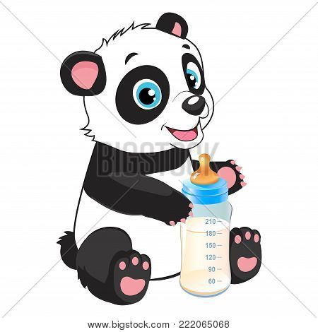 Cute Baby Panda With Feeding Bottle Cartoon Vector Character. Panda Bear Costume. Baby Feed Theme.