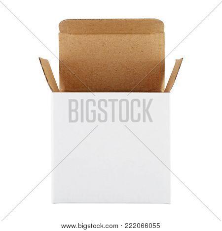 Opened white box isolated on white background