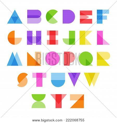 Abstract alphabet in color. Full set of bright letters from A to Z, modern English alphabet based on Latin symbols. Vector flat style cartoon illustration isolated on white background