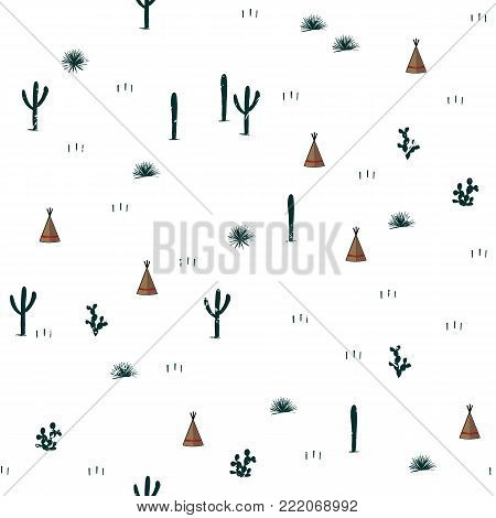 Seamless pattern with indian tents and cacti. Saguaro, opuntia, and wigwames. Vector illustration. Cute design for textile, clothing, wallpapers, and cards