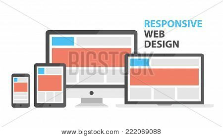 Responsive web design. Single site to support many devices, web page render well on a variety of screen sizes. Vector flat style cartoon illustration isolated on white background