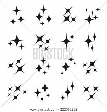 Sparkle icon set. Black glittery, glowing or brilliant particle of fire, star, shimmer and twinkle in air. Vector flat style cartoon illustration isolated on white background