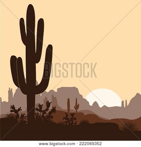 Morning landscape with saguaro cacti, prickly pear, and agaves in mountains. Vector illustration. Cute brown palette, place for text