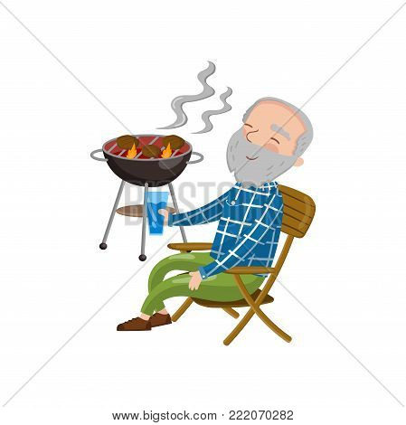 Happy smiling grandpa grilling barbecue while sitting on the chair and drinking, cartoon vector Illustration on a white background