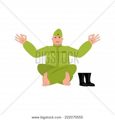 Soviet soldier yoga. Retro Russian warrior yogi isolated. Military in Russia Relaxation and meditation. Illustration for 23 February. Defender of Fatherland Day. Army holiday for Russian Federation