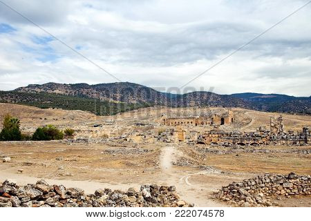 Pamukkale antic theatre in Turkey. Horzontal image of beautiful landscape