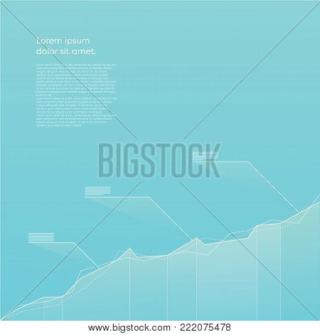 Modern line graph vector element with blue color gradients. Data visualization concept for analysis, report, presentation, infographics. Eps10 vector illustration.