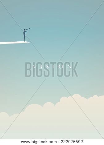 Business vision concept vector motivational poster with businessman on jumping board looking into future. Symbol of challenge, opportunity, goals, success, leadership. Eps10 vector illustration.