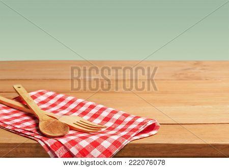 Kitchen wooden wood utensils table background closeup