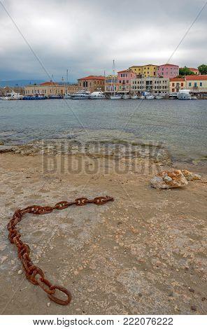 Old Venetian Port In Chania On Crete Island. Greece