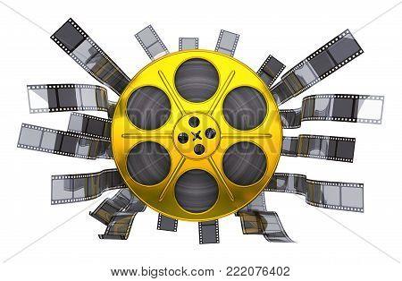 Spool gold film on white background. 3d illustration