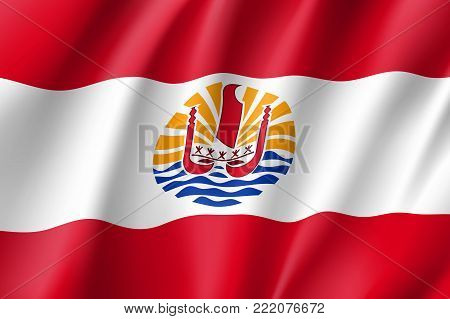 French Polynesia realistic flag. Patriotic symbol in official country colors. Illustration of Oceania state flag. Vector icon